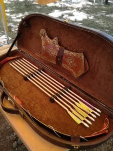 a traditional leather case of archery arrows, part of the sunnah academy of sports archery course
